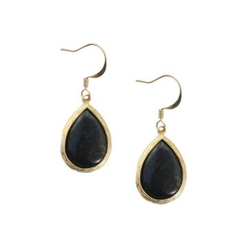 Zirconite Onyx Fish Hook Earring, Drop Earrings