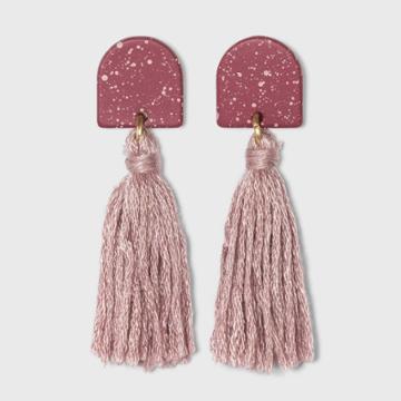 Speckled Half Moon And Tassel Drop Earrings - Universal Thread