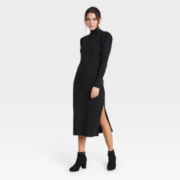 Women's Puff Long Sleeve Sweater Dress - Who What Wear Black