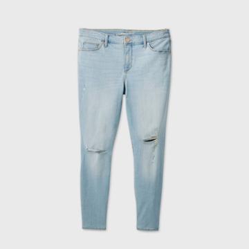 Women's Plus Size Mid-rise Distressed Curvy Skinny Jeans - Universal Thread Medium Wash