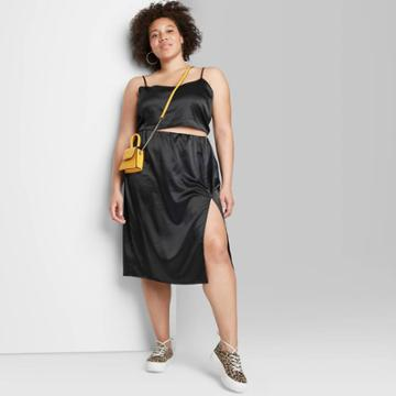 Women's Plus Size Satin Super Crop Top And Midi Skirt - Wild Fable Black