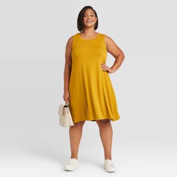 Women's Plus Size Sleeveless Swing Dress - Ava & Viv Olive X, Green