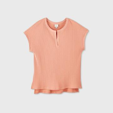 Women's Short Sleeve V-neck Wide Rib Top - A New Day Coral Xs, Women's, Pink