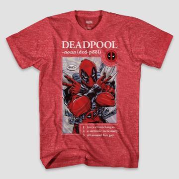 Men's Marvel Deadpool Short Sleeve Graphic T-shirt - Heather Red S, Men's,