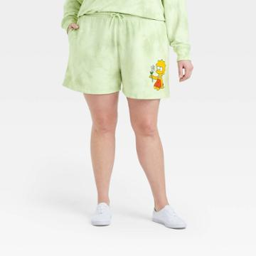 The Simpsons Women's Lisa Simpson Plus Size Graphic Jogger Shorts - Green