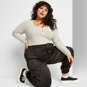 Women's Plus Size Long Sleeve Crewneck Cozy Henley Crop Top - Wild Fable Gray 1x, Women's,