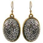 Women's Zirconite Black Crystals Oval Drop Earrings - Gold