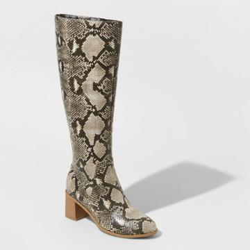 Women's Marlee Animal Print Knee High Heeled Fashion Boots - Universal Thread Gray