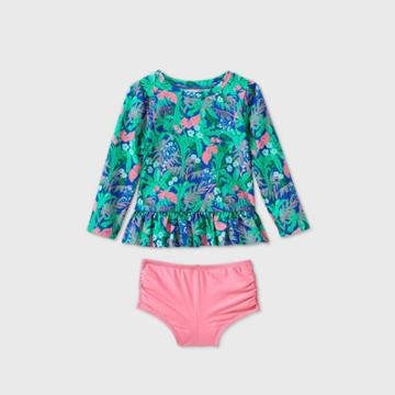Toddler Girls' Floral Long Sleeve Rash Guard Swim Set - Cat & Jack Blue/green