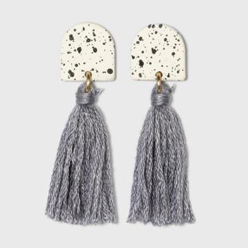 Speckled Half Moon And Tassel Drop Earrings - Universal Thread Ivory