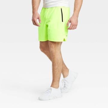 Men's Stretch Woven Shorts - All In Motion Bright Lemon S, Men's, Size: Small, Bright Yellow