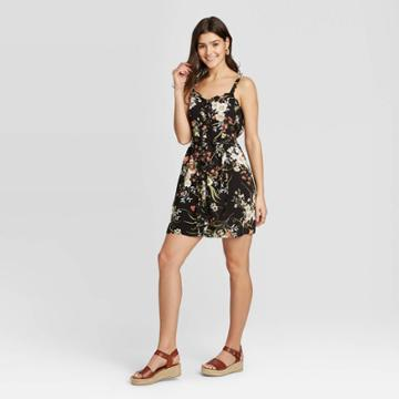 Women's Floral Print Sleeveless Button-front Belted Dress - Xhilaration Black