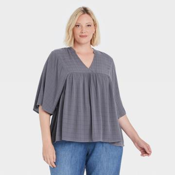 Women's Plus Size Flutter Short Sleeve V-neck Blouse - Knox Rose Navy