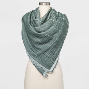 Women's Striped Large Square Scarf - Universal Thread Green One Size, Women's