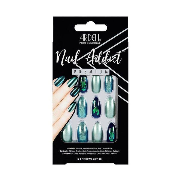 Ardell Nail Addict False Nails Green Glitter Chrome - 24ct, Adult Unisex