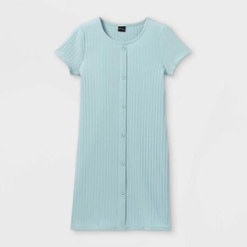 Girls' Button-front Short Sleeve Ribbed Dress - Art Class