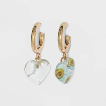 Daisy Floral Heart Hoop Earrings - Wild Fable White