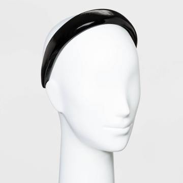 Puffy Plastic Headband With Solid Faux Leather Cover - Wild Fable Black