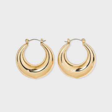 Thick Metal Hoop Earrings - A New Day Gold