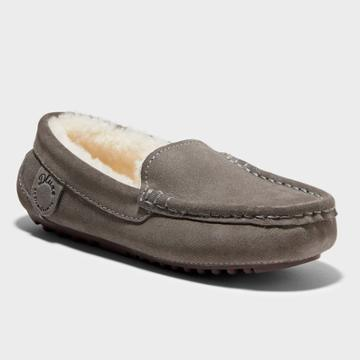 Kids' Dluxe By Dearfoams Jasper Genuine Shearling Moccasin Slippers - Gray