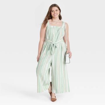 Women's Plus Size Striped Sleeveless Button-front Jumpsuit - A New Day