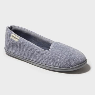 Women's Dearfoams Chenille Wide Width Closed-back Loafer Slippers - Sleet Gray