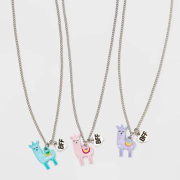 Girls' 3pk Llama Bff Necklace Set - Cat & Jack , Pink/purple/blue