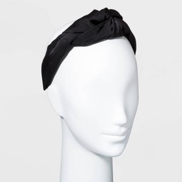 Satin Puffy Knot Headband - A New Day Black