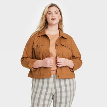 Women's Plus Size Flutter Sleeve Tiered Blazer - Ava & Viv Brass X