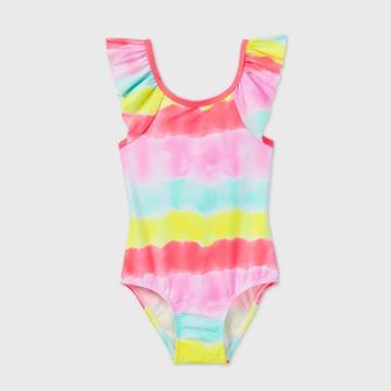Toddler Girls' Tie-dye Striped Ruffle Sleeve One Piece Swimsuit - Cat & Jack White