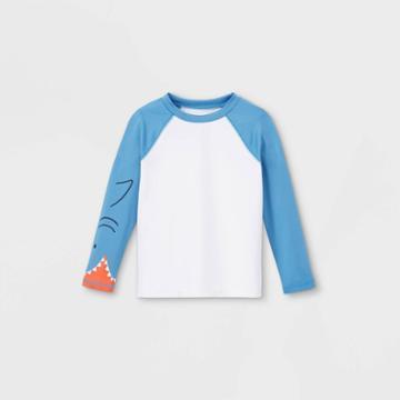 Toddler Boys' Shark Face Long Sleeve Raglan Rash Guard Swim Shirt - Cat & Jack Blue