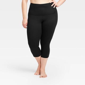 Women's Plus Size Contour Power Waist High-rise Capri Leggings 20 - All In Motion Black 1x, Women's,