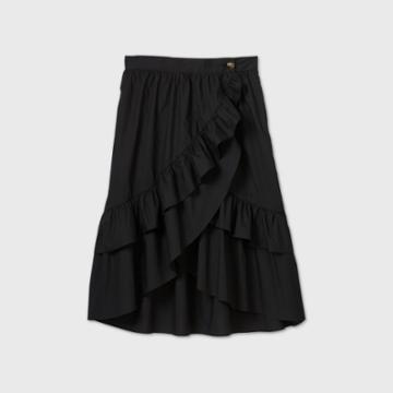 Women's Plus Size Wrap A-line Midi Skirt - Who What Wear Black