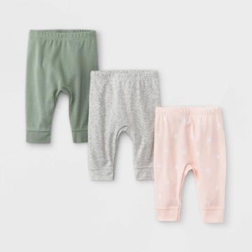 Baby Girls' 3pk Star Print Basic Jogger Pull-on Pants - Cloud Island Dark Green