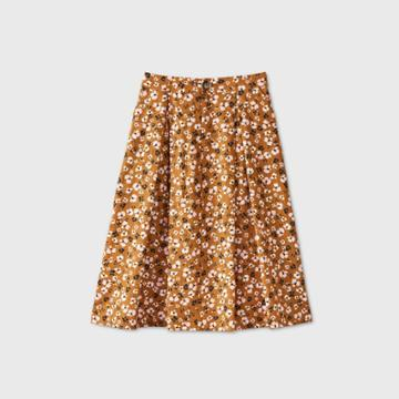 Women's Floral Print Birdcage A-line Midi Skirt - Who What Wear Brown