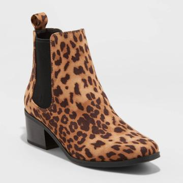 Women's Ellie Leopard Chelsea Boots - A New Day Brown
