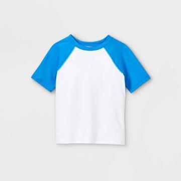 Toddler Boys' Short Sleeve Rash Guard Swim Shirt - Cat & Jack White