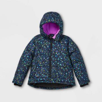 Girls' Short Puffer Jacket - All In Motion Black