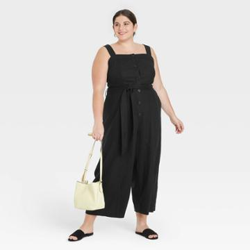Women's Plus Size Sleeveless Button-front Jumpsuit - A New Day Black