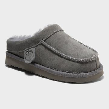 Kids' Dluxe By Dearfoams Vancouver Genuine Shearling Clog Slippers - Gray