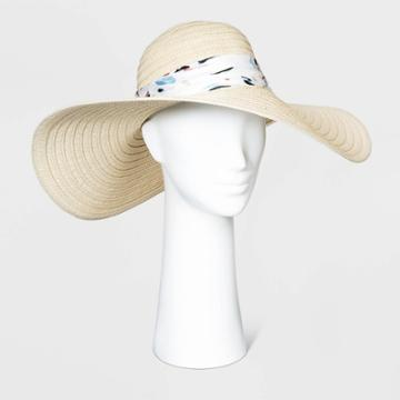 Women's Print Band Floppy Hats - A New Day Natural One Size, Women's, Yellow