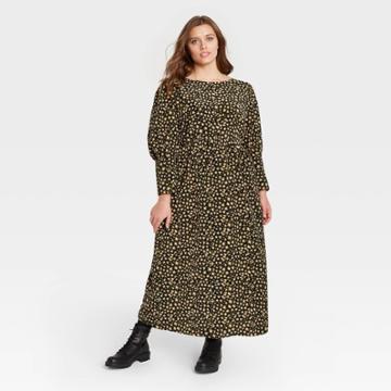 Women's Plus Size Leopard Print Puff Long Sleeve Dress - Who What Wear Brown