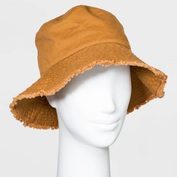 Women's Canvas Bucket With Fringe Hats - Universal Thread Brown One Size, Women's