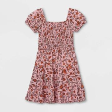 Girls' Smocked Short Sleeve Dress - Art Class Pink