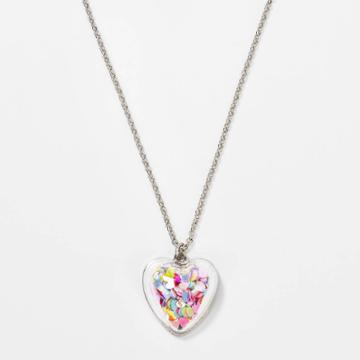 Girls' Glitter Shaker Heart Necklace - Cat & Jack