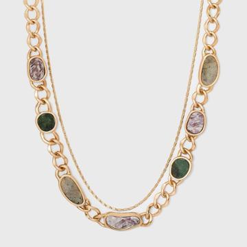 Labradorite And Lepidolite Semi-precious Curb Chain Layered Necklace - Universal Thread