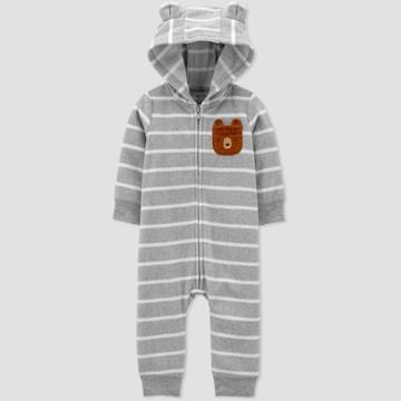 Baby Boys' Bear Fleece Hood Romper - Just One You Made By Carter's Gray Newborn