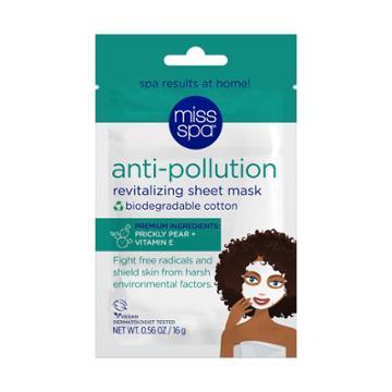 Miss Spa Anti-pollution 100% Cotton Biodegradable Sheet Mask - 4pk/0.56 Fl Oz