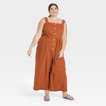 Women's Plus Size Sleeveless Button-front Jumpsuit - A New Day Brown