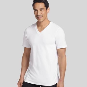 Jockey Generation Mens Stay New Cotton 3 + 1 Bonus Pack V-neck T-shirt - White